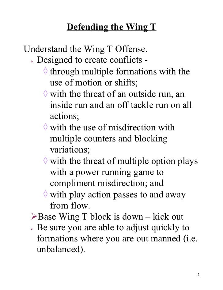 defending the double wing t Strategies for defending the wing t with the 3-3 john rice head coach eisenhower high school rialto, ca (951  option football from the double wing .