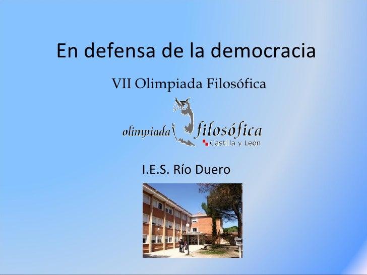 En defensa de la democracia