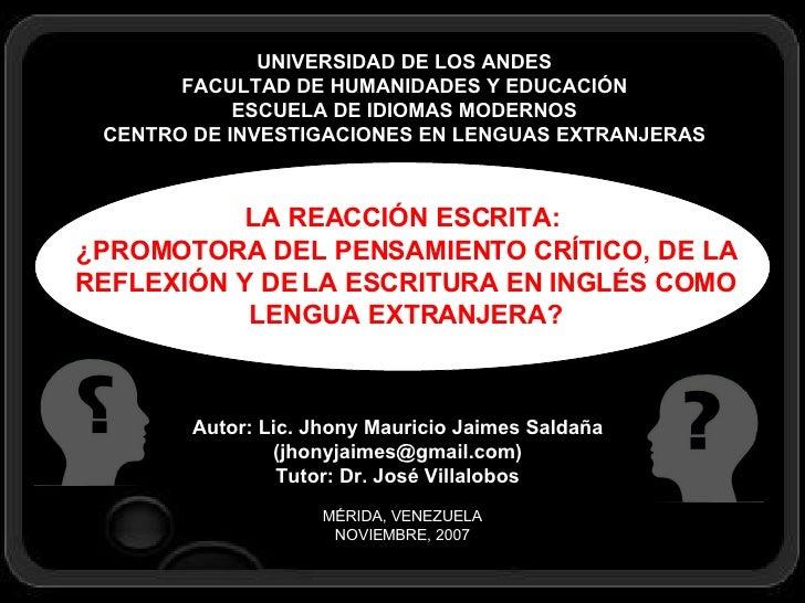 UNIVERSIDAD DE LOS ANDES FACULTAD DE HUMANIDADES Y EDUCACIÓN ESCUELA DE IDIOMAS MODERNOS CENTRO DE INVESTIGACIONES EN LENG...