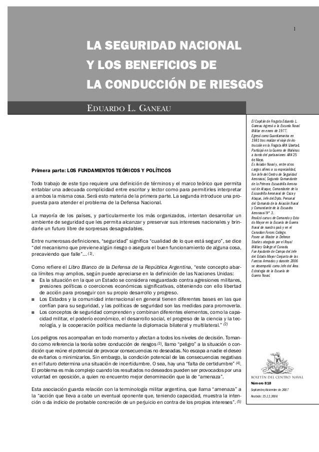 1                         LA SEGURIDAD NACIONAL                         Y LOS BENEFICIOS DE                         LA CON...