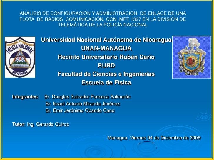 Análisis de Configuración y administración  de enlace de una flota de radios  comunicación, con  MPT 1327 en la división ...