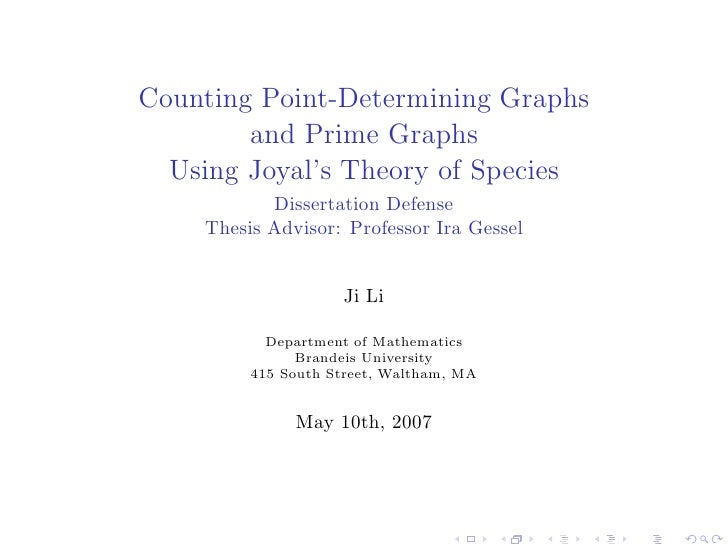 Counting Point-Determining Graphs        and Prime Graphs  Using Joyal's Theory of Species           Dissertation Defense ...