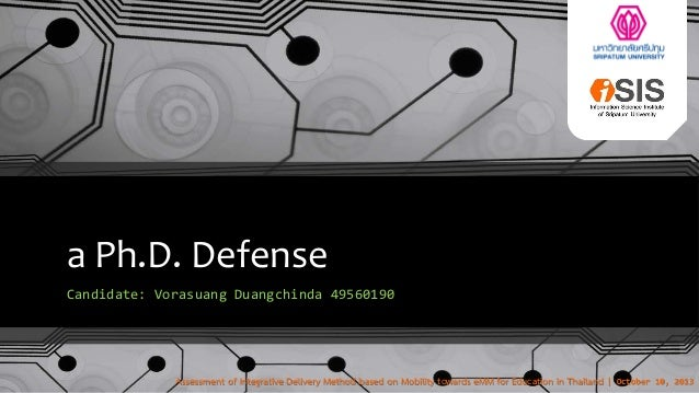 Ph.D. Defense: October 10, 2013