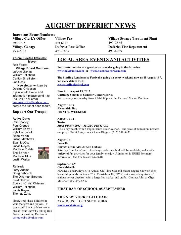 AUGUST DEFERIET NEWSImportant Phone Numbers:Village Clerk's Office   Village Fax                                          ...