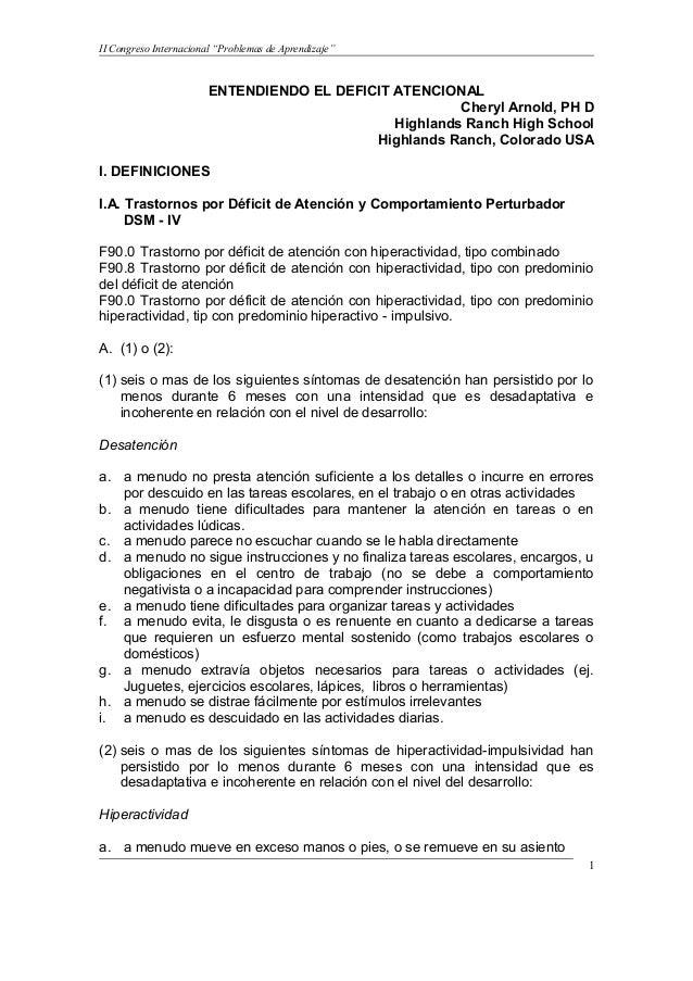 """II Congreso Internacional """"Problemas de Aprendizaje""""                        ENTENDIENDO EL DEFICIT ATENCIONAL             ..."""