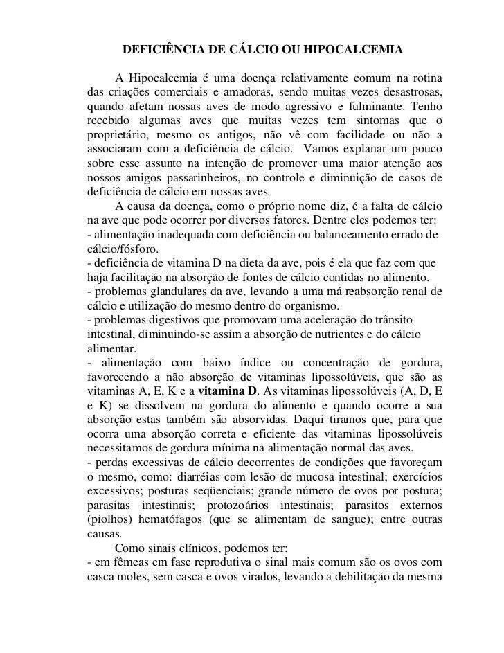 Deficiência de Cálcio ou Hipocalcemia - www.veterinariodeaves.blogspot.com