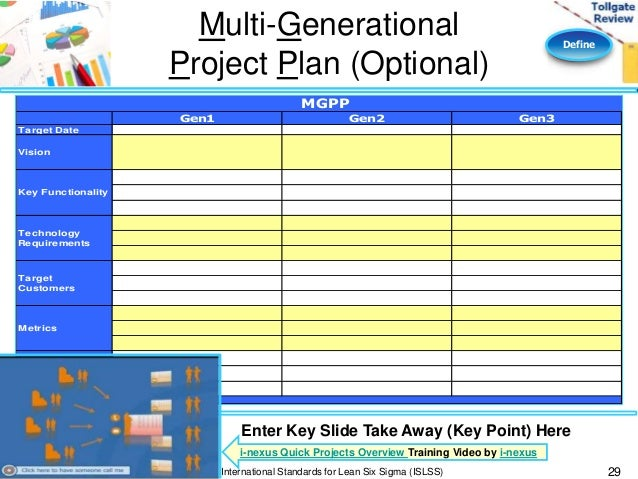multi generational project plan template - define phase lean six sigma tollgate template