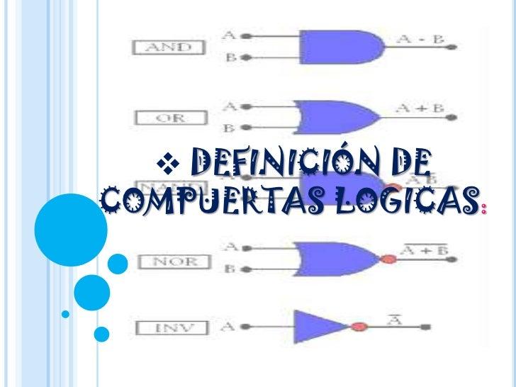 <ul><li>DEFINICIÓN DE COMPUERTAS LOGICAS:</li></li></ul><li>Una Puerta lógica, o Compuerta Lógica, es un dispositivo elect...