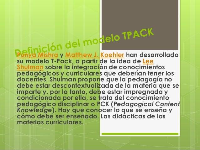 Definición del modelo tpack modelos tic(diapositivas)