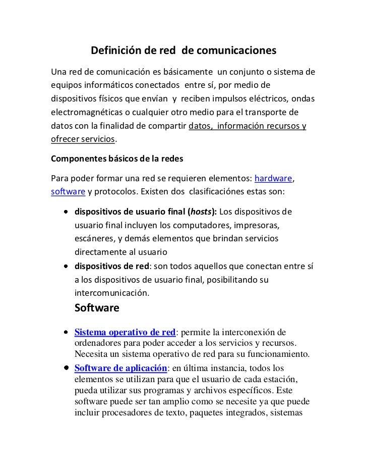 Definición de red  de comunicaciones