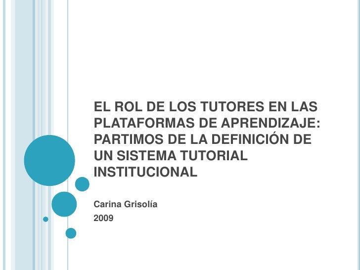 Definición De Un Sistema Tutorial Institucional