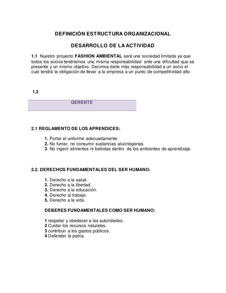 DEFINICIÓN ESTRUCTURA ORGANIZACIONAL                    DESARROLLO DE LA ACTIVIDAD1.1 Nuestro proyecto FASHION AMBIENTAL s...