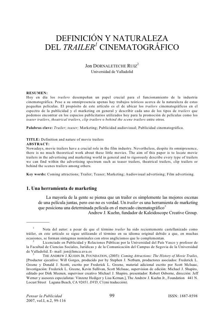 DEFINICIÓN Y NATURALEZA            DEL TRAILER1 CINEMATOGRÁFICO                                       Jon DORNALETECHE RUI...