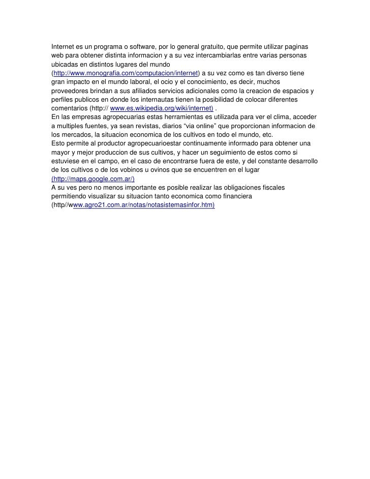 INTERNET DENTRO DE LAS EMPRESAS AGROPECUARIAS
