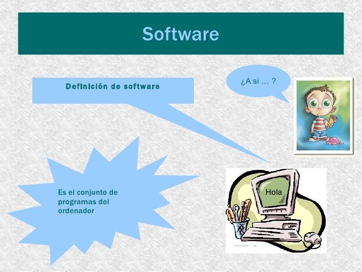 Software Hola  Definición de software Es el conjunto de  programas del  ordenador ¿A si … ?