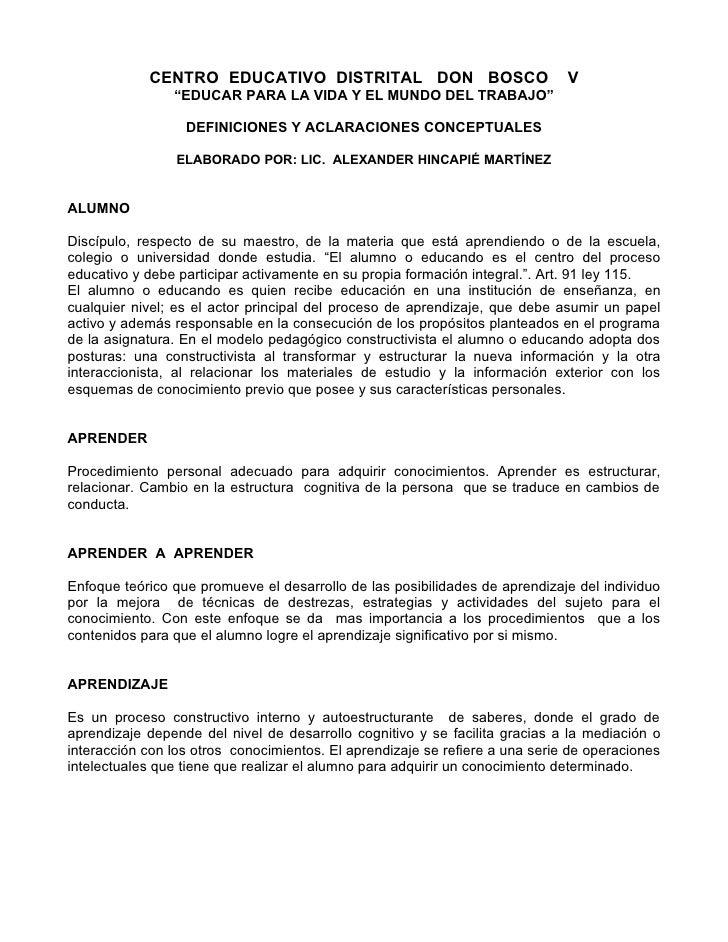 """CENTRO EDUCATIVO DISTRITAL DON BOSCO                              V                 """"EDUCAR PARA LA VIDA Y EL MUNDO DEL TR..."""