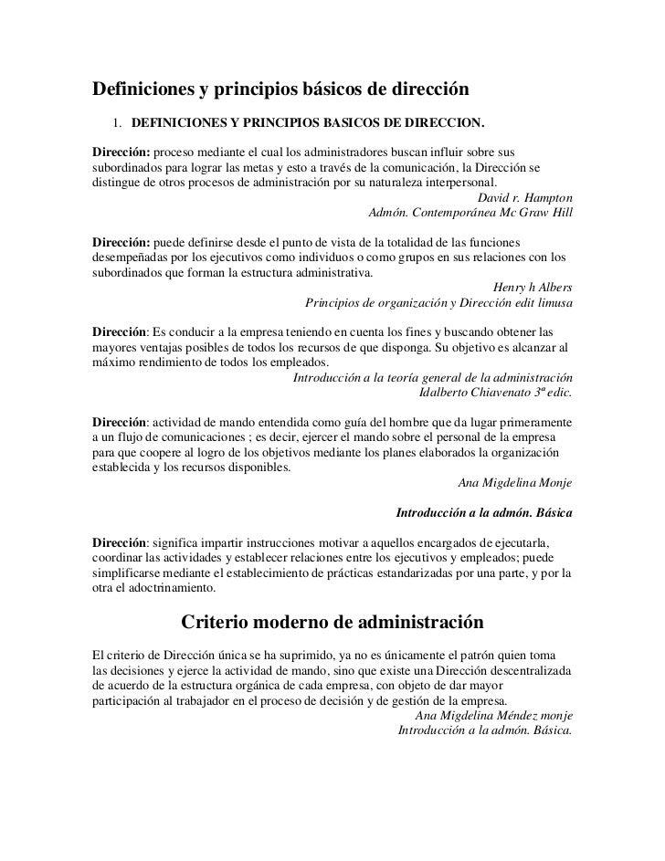 Definiciones y principios básicos de dirección<br />DEFINICIONES Y PRINCIPIOS BASICOS DE DIRECCION. <br />Dirección: proce...