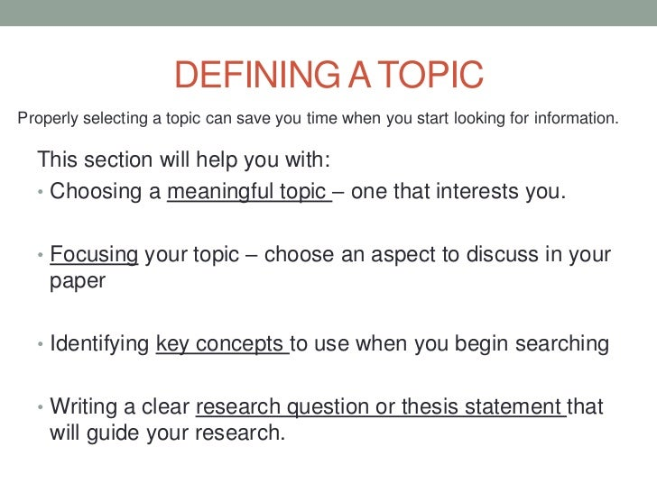 Defining a topic