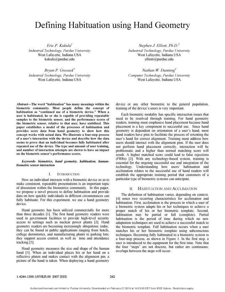 (2007) Defining Habituation Using Hand Geometry