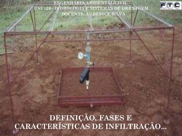 DEFINIÇÃO, FASES E CARACTERÍSTICAS DE INFILTRAÇÃO... UNI 129 - HIDROLOGIA E SISTEMAS DE DRENAGEM ENGENHARIA AMBIENTAL/CIVI...