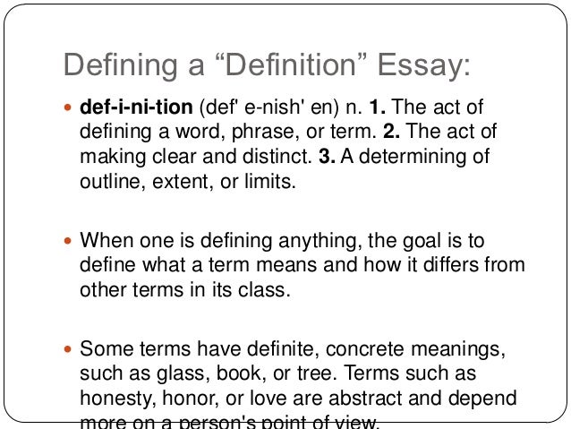 sample of a definition essay