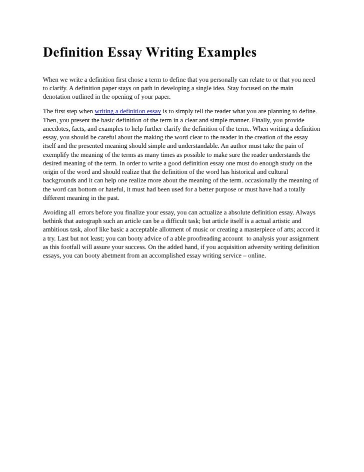 Writing a definition essay examples