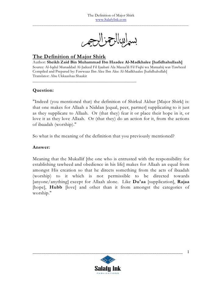 The Definition of Major Shirk                                       www.SalafyInk.com ____________________________________...