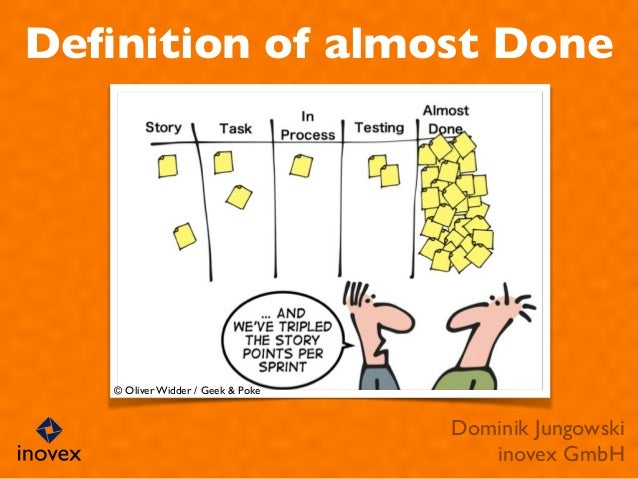 Definition of almost Done Dominik Jungowski  inovex GmbH © Oliver Widder / Geek & Poke