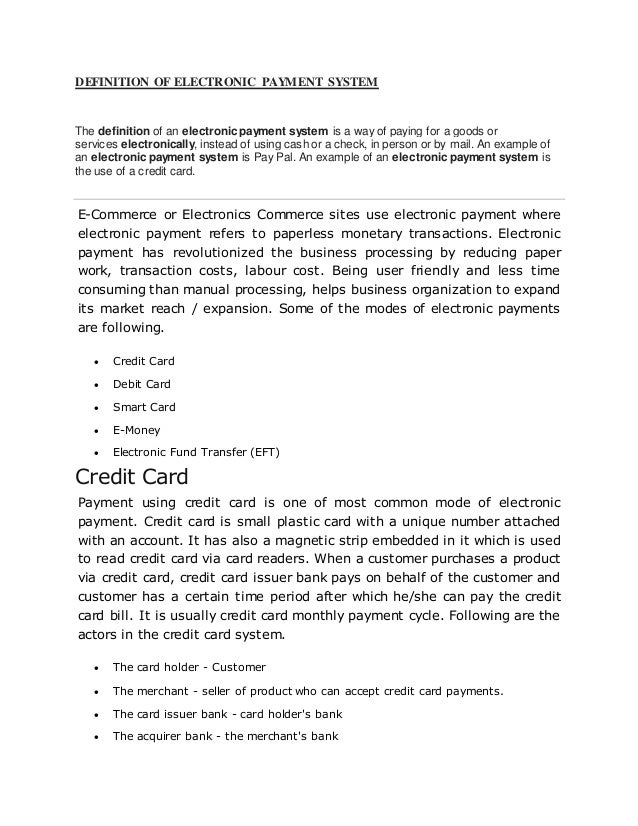 Download Electronic Payment Systems (1) Powerpoint Presentation