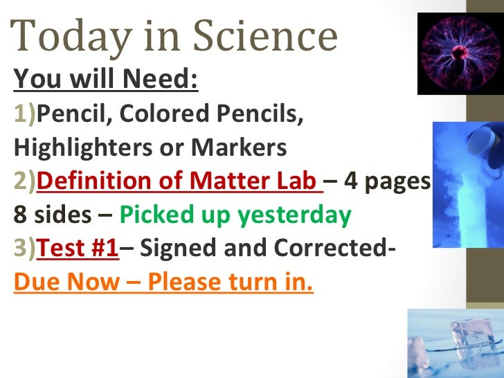 Definition of Matter Lab Day 2