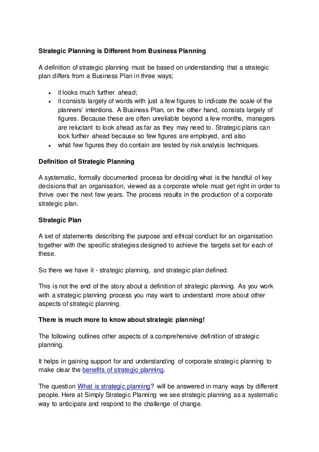 Business planning meaning