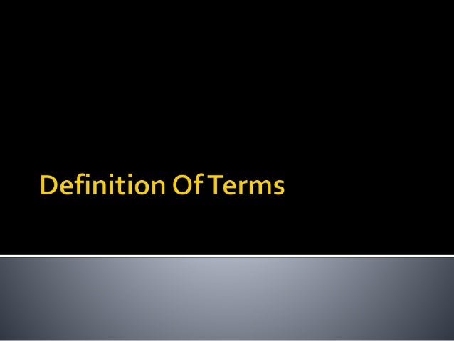 Defining Key Terms Dissertation