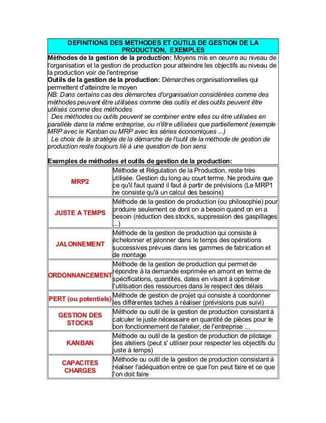 DEFINITIONS DES METHODES ET OUTILS DE GESTION DE LA PRODUCTION, EXEMPLES Méthodes de la gestion de la production: Moyens m...