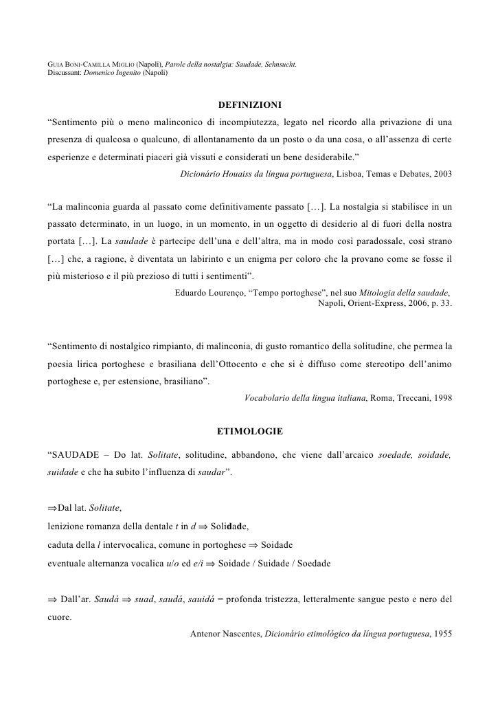 GUIA BONI-CAMILLA MIGLIO (Napoli), Parole della nostalgia: Saudade, Sehnsucht. Discussant: Domenico Ingenito (Napoli)     ...