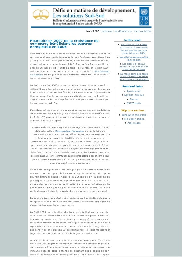 In this issue: Featured links: Skip to a section: Mars 2007 | s'abonner | sedésabonner | nous contacter Poursuite en 2007...