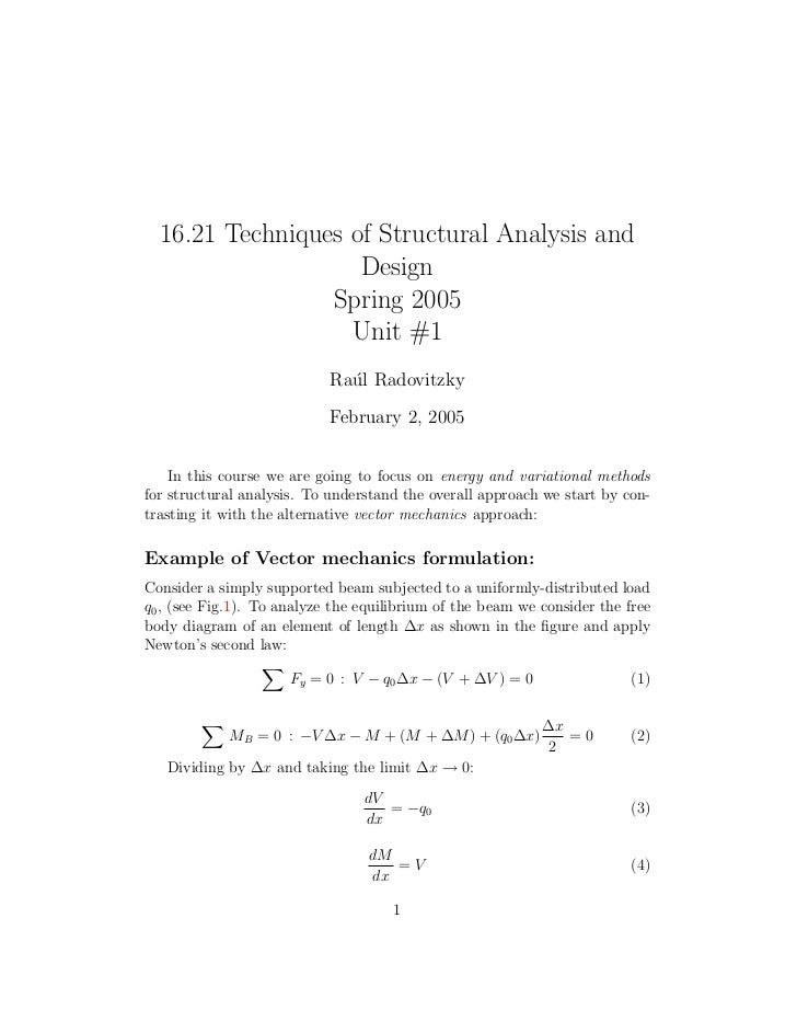 16.21 Techniques of Structural Analysis and                    Design                 Spring 2005                   Unit #...