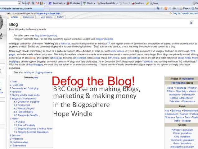 Defog the blog_nov12010