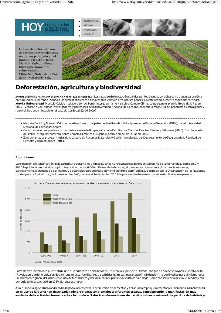 Deforestación, agricultura y biodiversidad — Site                                      http://www.hoylauniversidad.unc.edu...