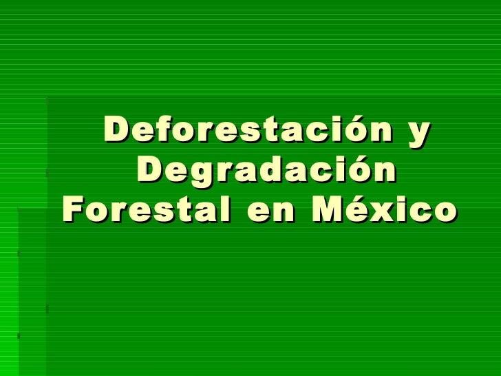 Deforestación y     De g r adación For estal en México