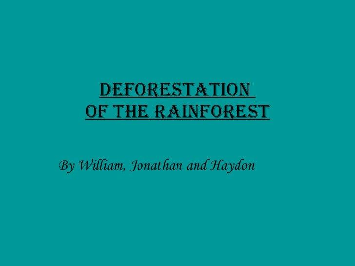 Deforestation William Haydon Jonathan