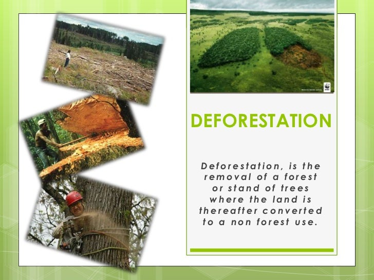 DEFORESTATIONDeforestation, is the removal of a forest   or stand of trees  where the land isthereafter converted to a non...