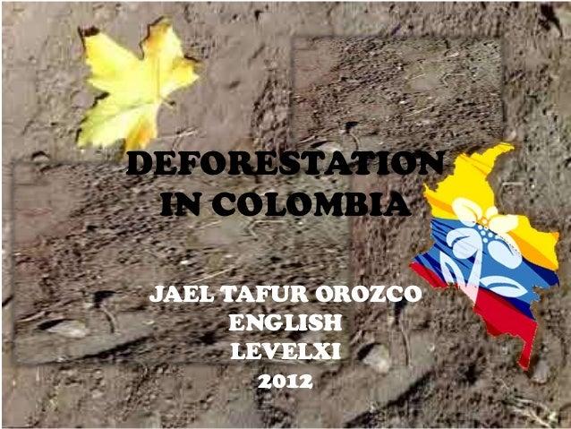 DEFORESTATION IN COLOMBIAJAEL TAFUR OROZCO      ENGLISH      LEVELXI        2012