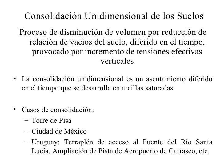 Consolidación Unidimensional de los Suelos <ul><li>Proceso de disminución de volumen por reducción de relación de vacíos d...