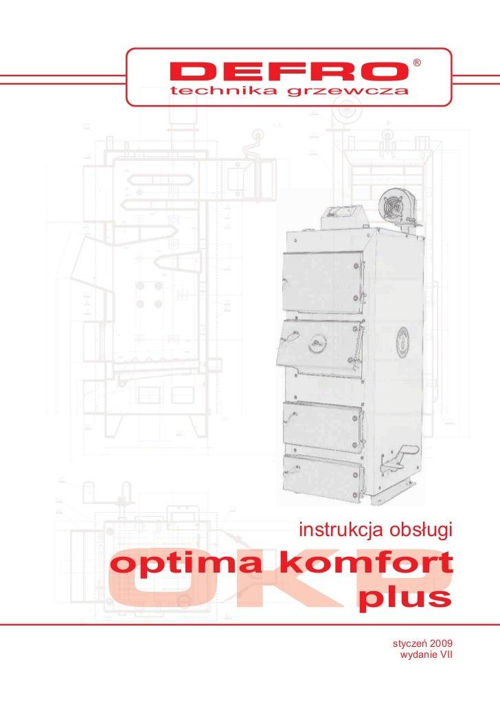 Kocioł Defro Optima Komfort Plus - instrukcja obsługi