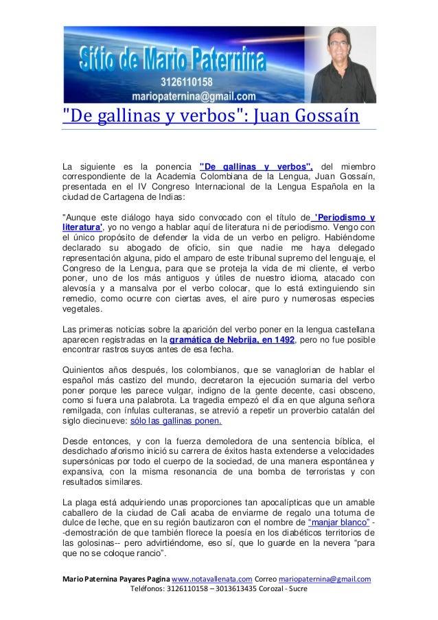 Mario Paternina Payares Pagina www.notavallenata.com Correo mariopaternina@gmail.comTeléfonos: 3126110158 – 3013613435 Cor...