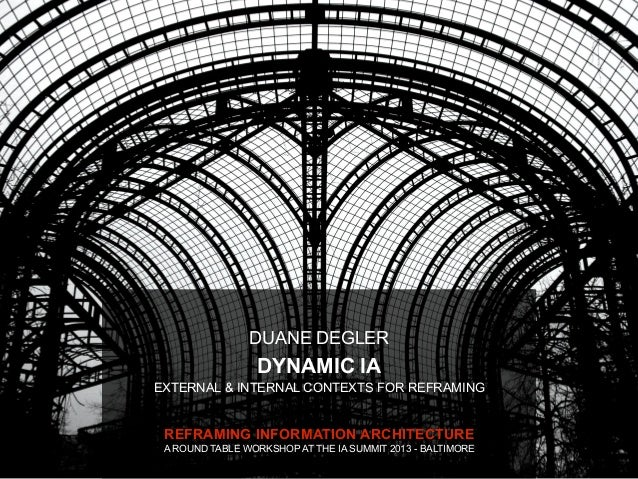 DUANE DEGLER                 DYNAMIC IAEXTERNAL & INTERNAL CONTEXTS FOR REFRAMING REFRAMING INFORMATION ARCHITECTURE A ROU...