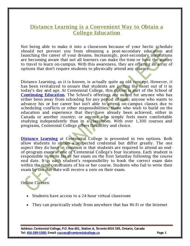 Address: Centennial College, P.O. Box 631, Station A, Toronto M1K 5E9, Ontario, Canada Tel: 416-289-5300, Email: success@c...