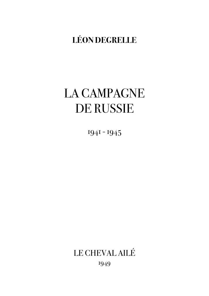 [Degrelle leon]   la campagne de russie