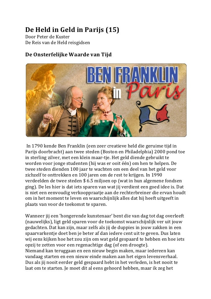 De Held in Geld in Parijs (15) Door Peter de Kuster De Reis van de Held reisgidsen   ...