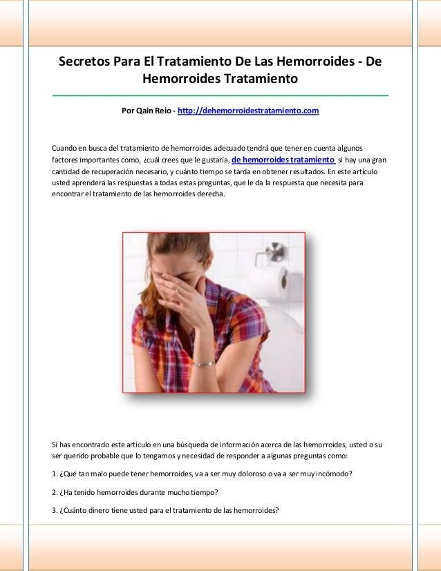 Secretos Para El Tratamiento De Las Hemorroides - DeHemorroides Tratamiento_______________________________________________...